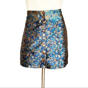 Urban Outfitters Blue Floral Snap up Mini Skirt M